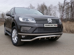 Volkswagen Touareg 2014 Защита передняя нижняя (кенгурин) 60,3/42,4 мм